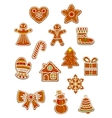 Gingerbread Christmas figures set vector image vector image