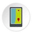 golf course on a tablet screen icon circle vector image vector image