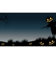 Halloween scarecrow and pumpkins silhouette vector image vector image