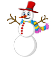 happy snowman cartoon vector image