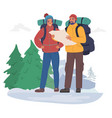 happy tourist couple with backpacks wearing winter vector image
