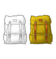 hipster tourist backpack front view color vector image