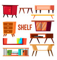 home shelf set interior furniture objects vector image