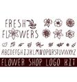 Logo kit for flower shops vector image