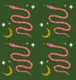 moon boho magical seamless pattern with snakes in vector image