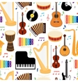 Musical instruments seamless pattern vector image