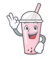 Okay raspberry bubble tea character cartoon
