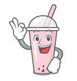 okay raspberry bubble tea character cartoon vector image vector image
