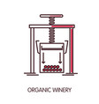 organic winery promotional poster with press vector image vector image