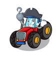 pirate tractor character cartoon style vector image vector image
