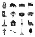 Russia black simple icons vector image vector image