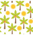 seamless pattern with palm tree and sun vector image vector image