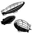Set aerostat on white background airships