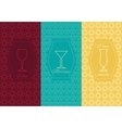 Set linear alcoholic ornament card vector image