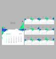 set of 12 calendar pages design print vector image
