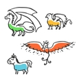Set of cute little cartoon mythical beasts vector image