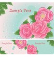 Set of floral card with pink roses vector image vector image