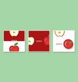 set of fruit banners with red apple paper art vector image