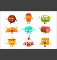 set of funny dessert characters - croissant vector image
