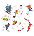 Skier Snowboarder Snowflakes Winter Sport vector image