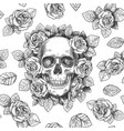 skull with flowers sketch skulls with roses vector image vector image