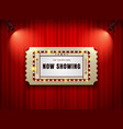 theater sign ticket on curtain with spotlight vector image vector image