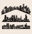 vintage composition black cityscapes vector image vector image