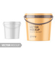 white glossy plastic bucket mockup template vector image