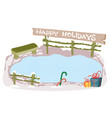 winter ice rink with a bench it is a background vector image vector image
