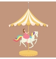woman girl riding horse carousel cartoon flat vector image vector image