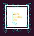 world graphic day design flat style vector image vector image