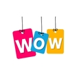 colorful hanging cardboard Tags - wow vector image