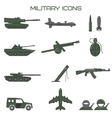 Set of military icons tank fighting machine vector image