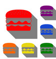 burger simple sign set of red orange yellow vector image