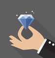 Hand with diamond flat style vector image