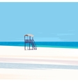 Lifeguard tower on a white sand beach vector image