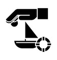 travel insurance - boat - sun - sand - lifebuoy vector image