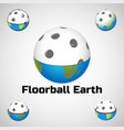 floorball earth logo for the team and the cup vector image