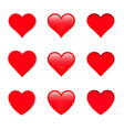 set of different shapes hearts with shadows vector image