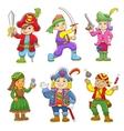 set of pirate child cartoon vector image