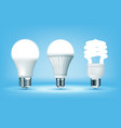 3d glowing cfl and led light bulbs on blue vector image vector image