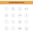 A set of liner icons isolated healthy lifestyle vector image vector image
