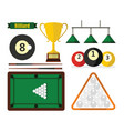billiard equipment in flat style on white vector image vector image