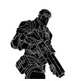 black contour drawing of a powerful policeman on a vector image