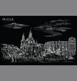 black hand drawing prague 4 vector image vector image