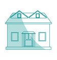 blue shading silhouette cartoon facade house with vector image vector image