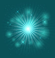 bright flash and explosion on green background vector image