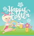 cartoon retro happy easter bunny pinup girl vector image vector image