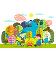 children summer camp fire and storytelling vector image vector image