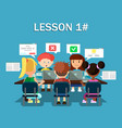 children with laptops share media information vector image